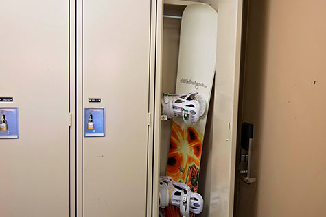 locker with snowboard inside