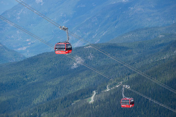 2 peak to peak gondolas high in the sky with mountians and trees all around